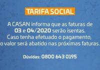 Casan orienta usuários com tarifa social sobre isenção