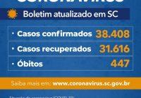 Estado confirma 38.408 casos e 447 mortes por Covid-19